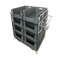 Rollbehälter zur Kommissionierung - Inkl. 8 x Euronorm Behälter mit Grifföffnung 64590