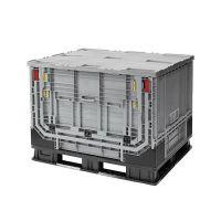 Palettenbox 1211x1011x903mm - 750 Liter, Kunststoff, mit Tür oben, faltbar