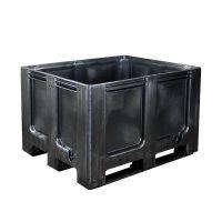 Palettenbox, 610 l, 3 Kufen, geschlossen, Recycling Kunststoff, 1200x1000x760mm